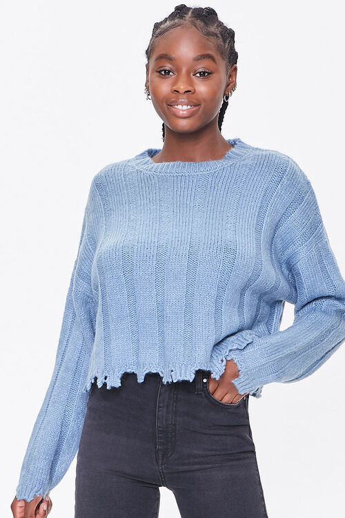 Ribbed Tattered-Trim Sweater, image 1
