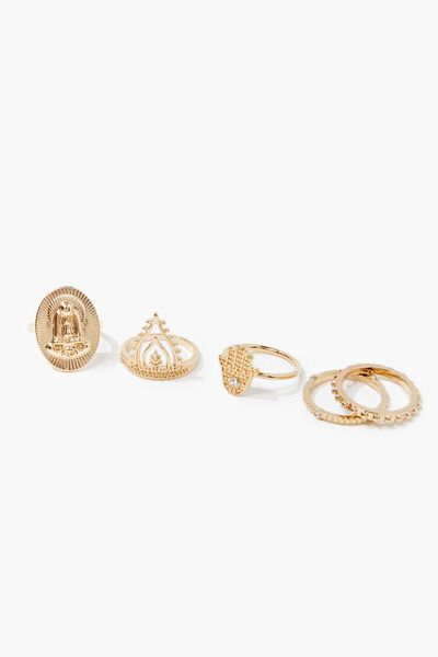 Details about  /Forever 21 Finger and Toe Ring Set Silver Gold Band Cross Gift