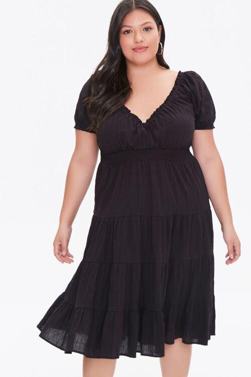 Plus Size Tiered Ruffle-Trim Dress, image 1