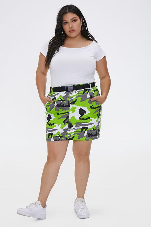 Plus Size Camo Print Mini Skirt, image 4