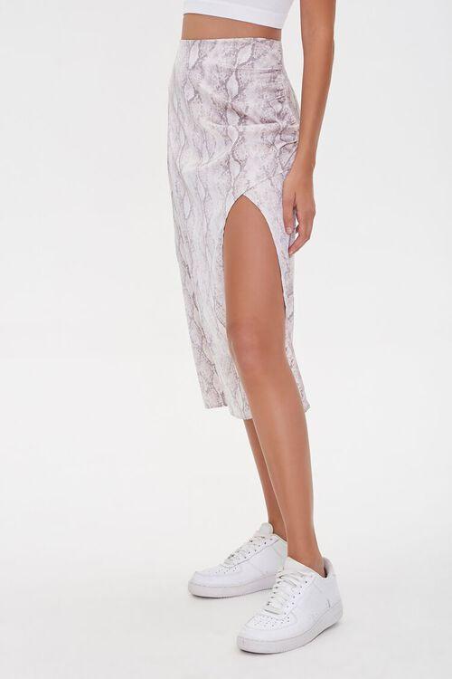 GREY/MULTI Snake Print Slit Skirt, image 3