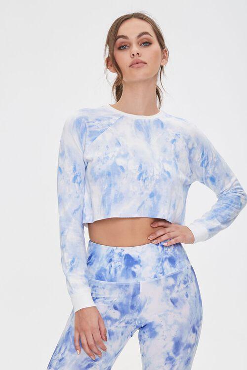 BLUE/WHITE Active Tie-Dye Crop Top, image 1