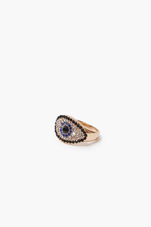 Rhinestone Evil Eye Charm Ring, image 1