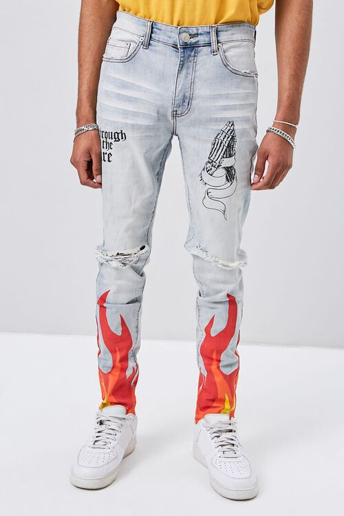 Flame Graphic Distressed Jeans, image 2