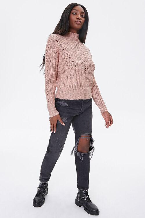 Open-Knit Mock Neck Sweater, image 4
