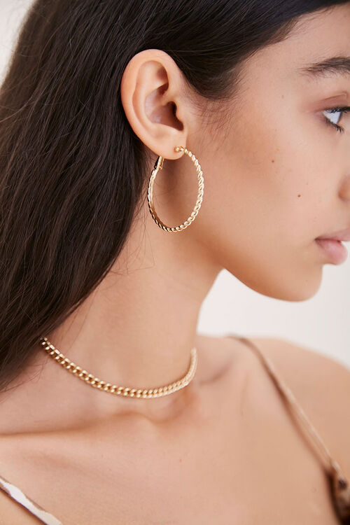 Upcycled Twisted Hoop Earrings, image 1