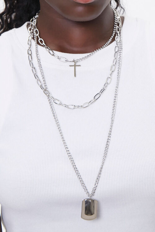Dog Tag & Cross Charm Necklace, image 1