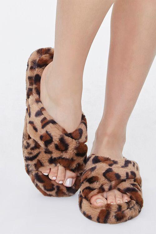 Faux Fur Leopard Print Crisscross Slippers, image 4