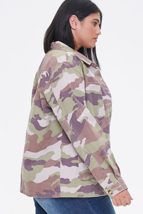 Plus Size Camo Print Twill Jacket, image 2
