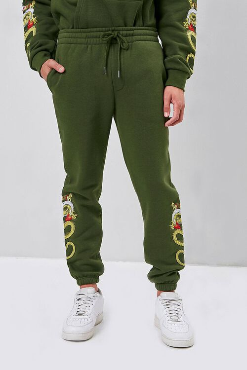 Dragon Embroidered Graphic Joggers, image 2