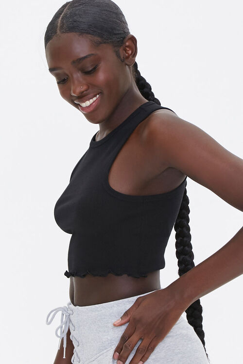 Ribbed Lettuce-Edge Cropped Tank Top, image 2