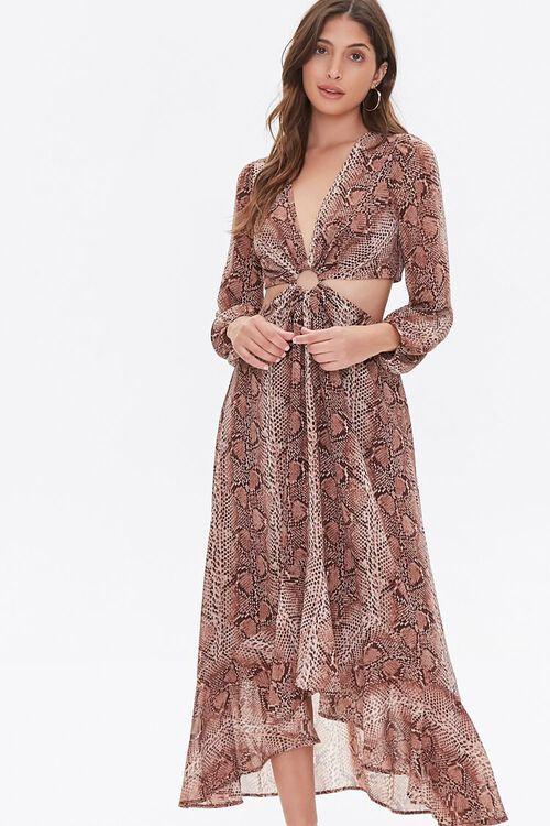 Snakeskin Print Cutout Dress, image 1