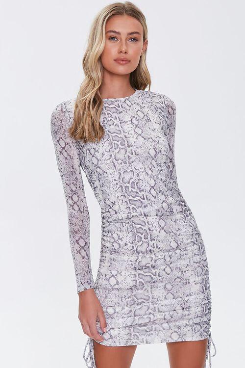 GREY/YELLOW Snake Print Bodycon Dress, image 1
