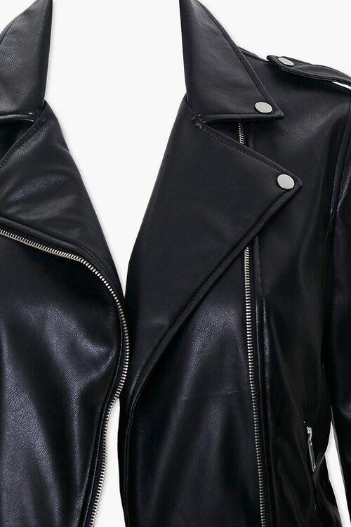 Plus Size Faux Leather Moto Jacket, image 4