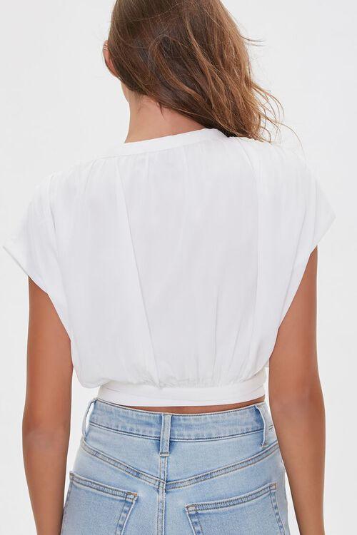 WHITE Cap-Sleeve Wrap Top, image 3