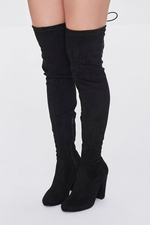 BLACK Faux Suede Over-the-Knee Boots, image 1