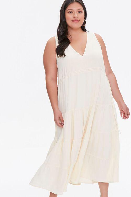 LIGHT YELLOW Plus Size Column Midi Dress, image 1