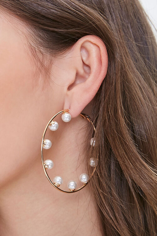 Faux Pearl Hoop Earrings, image 1
