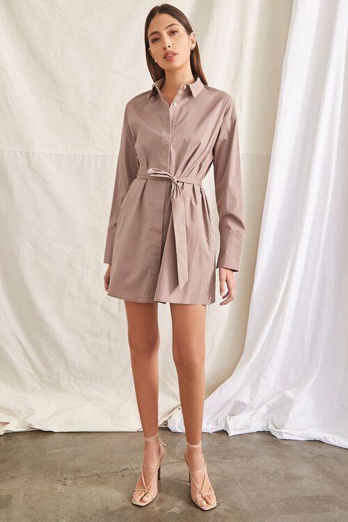 TAUPE Belted Mini Shirt Dress, image 4