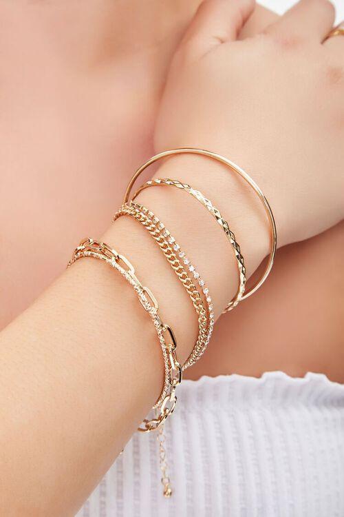 GOLD/CLEAR Rhinestone Chain Bracelet Set, image 1