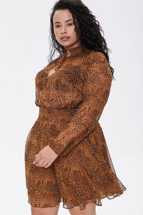 BROWN/BLACK Plus Size Leopard Print Chiffon Dress, image 2