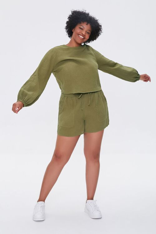 OLIVE Plus Size Peasant Sleeve Top, image 4