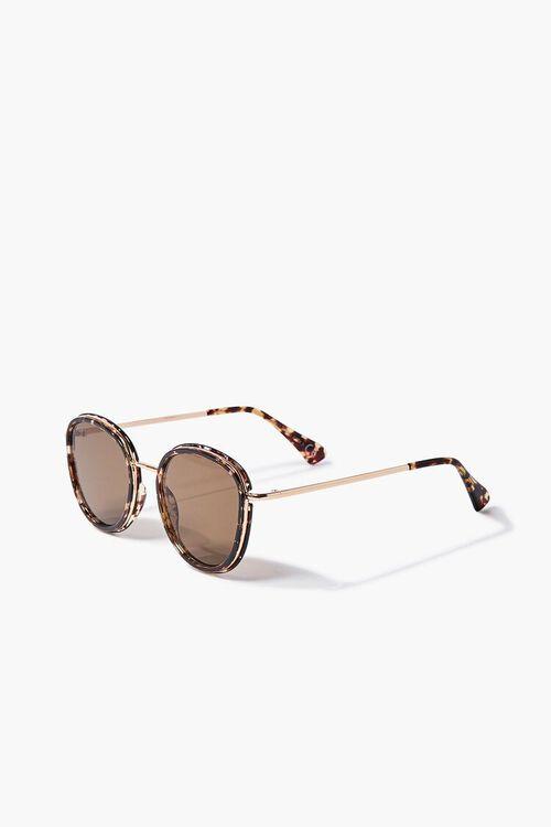 Tortoiseshell Round Metal Sunglasses, image 2