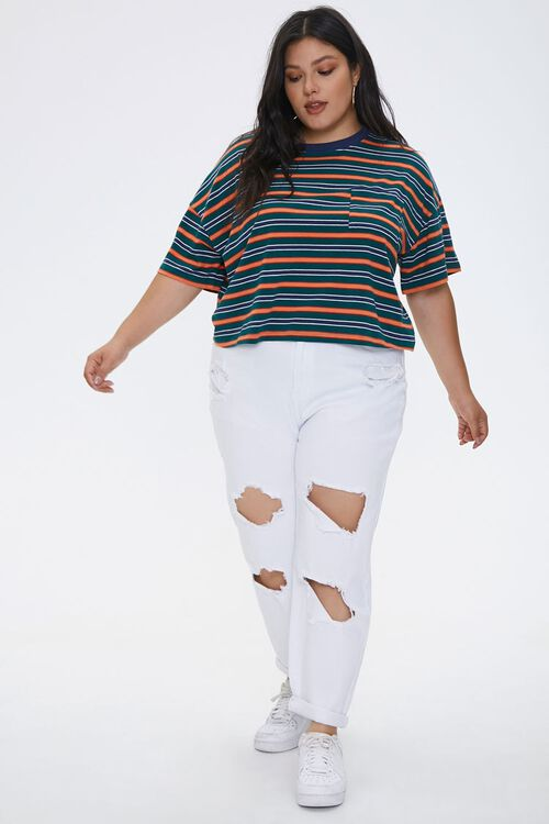Plus Size Distressed Mom Jeans, image 1