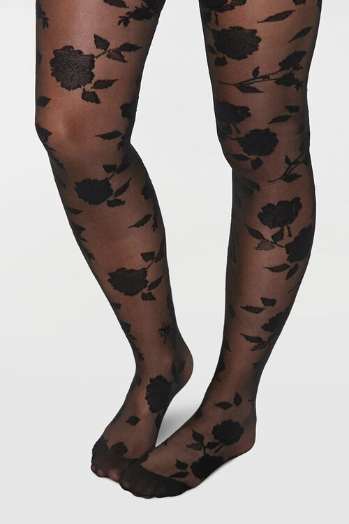 Sheer Rose Tights, image 1