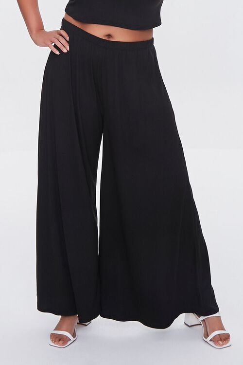 BLACK Plus Size Tee & Palazzo Pants Set, image 5