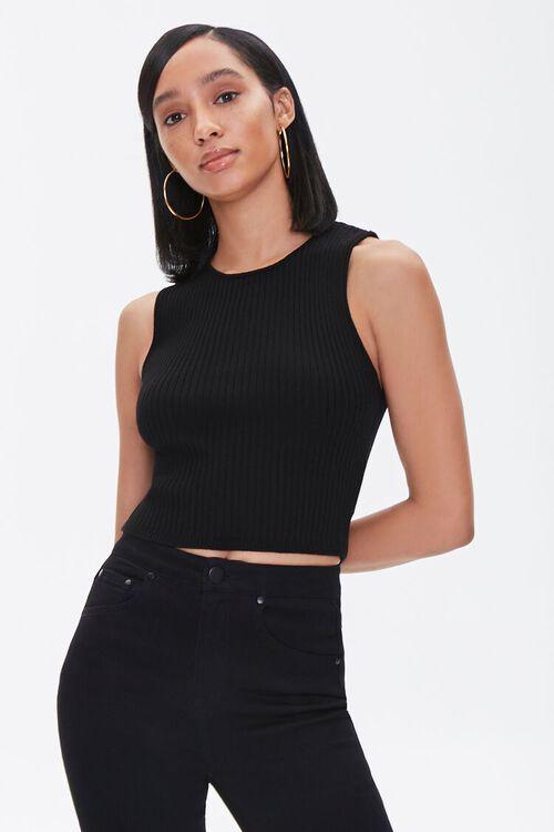 Ribbed Sweater-Knit Tank Top, image 1