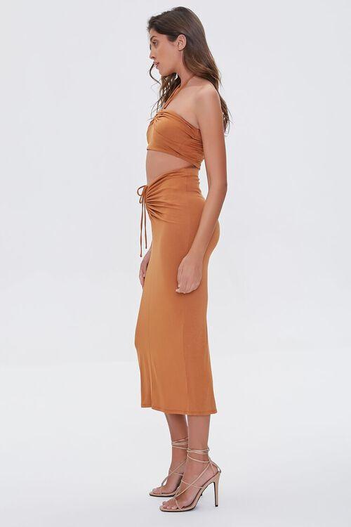 Ruched Halter Top & Midi Skirt Set, image 2