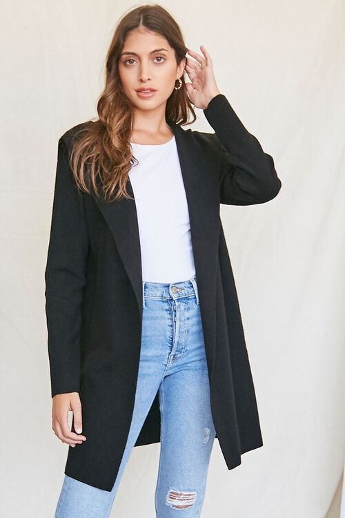 BLACK Open-Front Cardigan Sweater, image 1