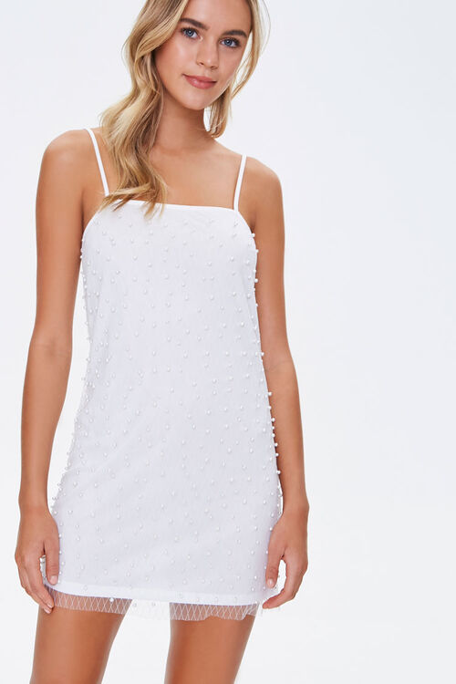 Faux Pearl Cami Mini Dress, image 1