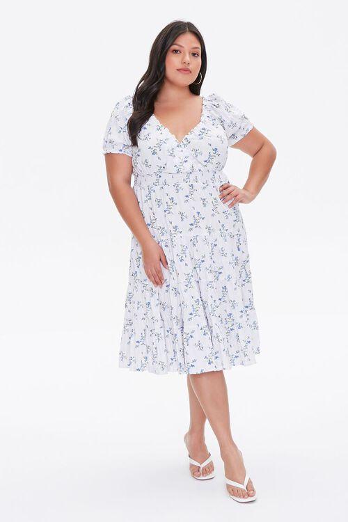 CREAM/BLUE Plus Size Tiered Ruffle-Trim Dress, image 4