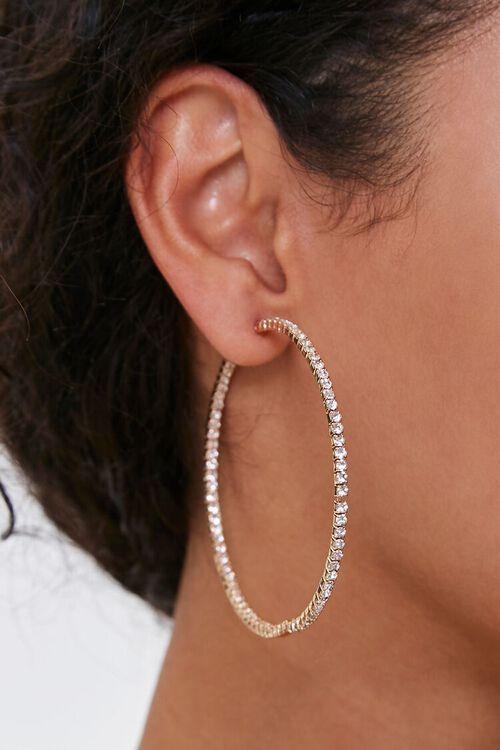 Rhinestone Hoop Earrings, image 1