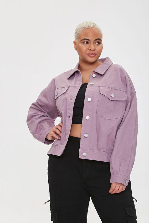 Plus Size Drop-Sleeve Twill Jacket, image 1