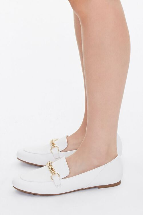 Faux Leather Chain-Strap Loafers, image 2