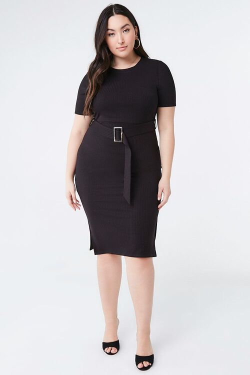 Plus Size Belted Bodycon Dress, image 4