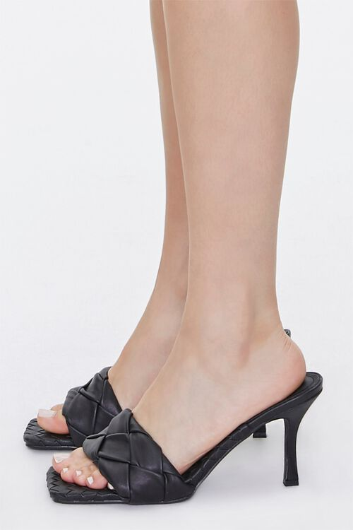 BLACK Braided Square Toe Heels, image 2