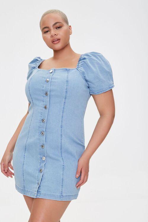 Plus Size Chambray Puff-Sleeve Dress, image 1