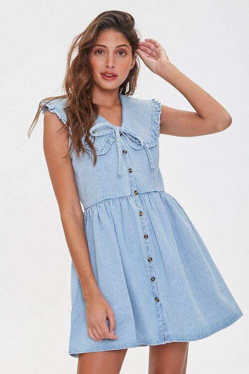 Denim Fit & Flare Dress, image 1