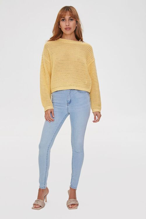 Cropped Open-Knit Sweater, image 4