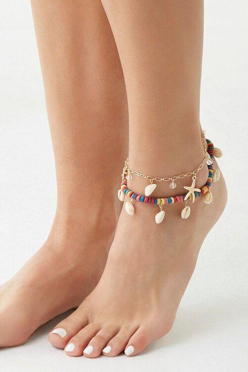 CREAM/MULTI Seashell Charm Anklet Set, image 1