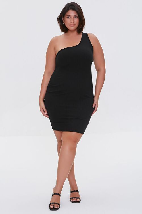 BLACK Plus Size One-Shoulder Mini Dress, image 4
