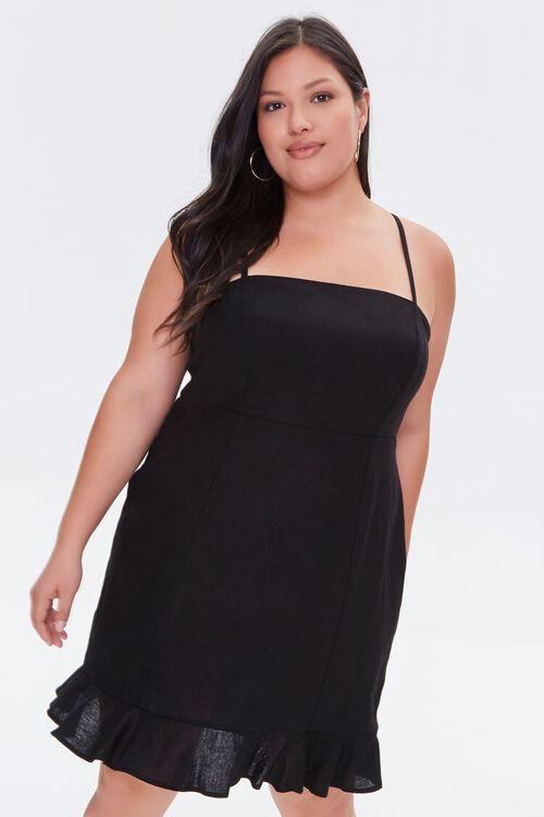 Plus Size Ruffle-Hem Mini Dress, image 1