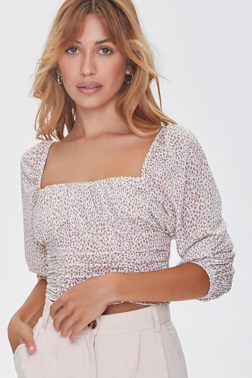Spotted Print Ruched Top, image 1
