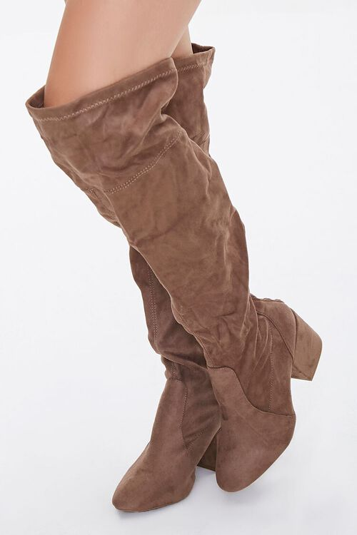 Faux Suede Over-the-Knee Boots (Wide), image 1