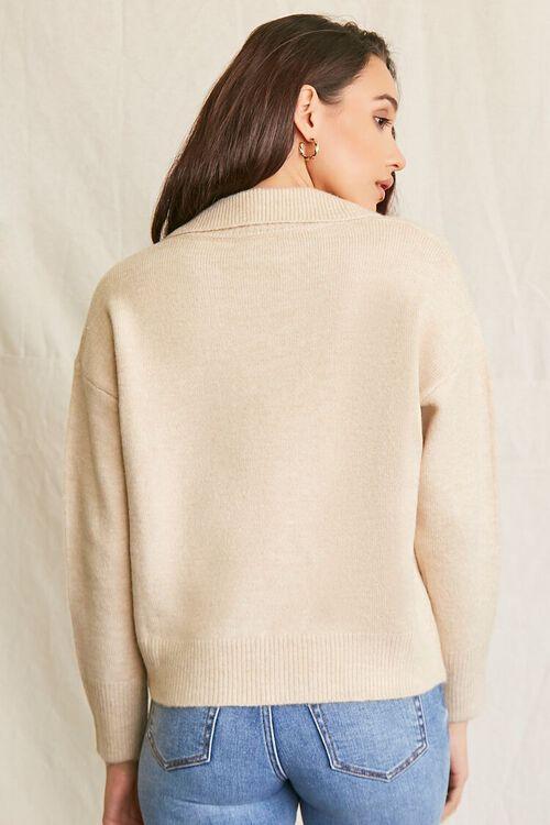 OATMEAL Brushed Split-Neck Sweater, image 3