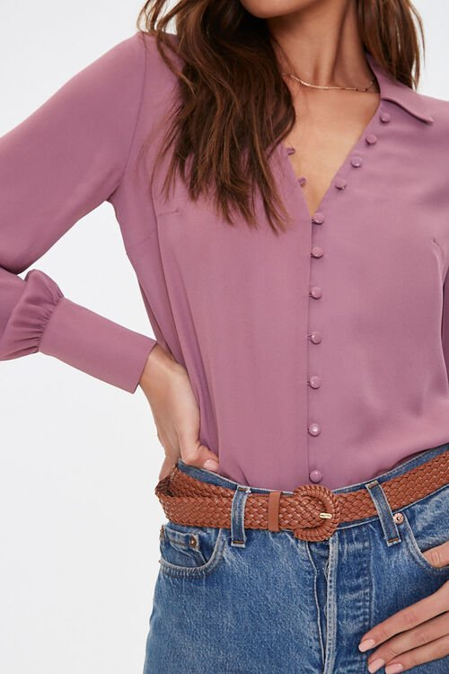 Button-Front High-Low Shirt, image 1